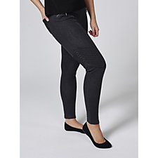 H by Halston Studio 61 Knit Pull On Denim Ankle Biker Pant Petite