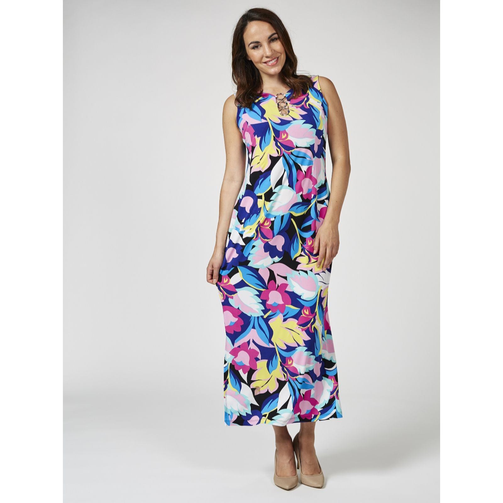 19a62b6cf4a Coco Bianco Printed Jersey Maxi Dress Petite - QVC UK