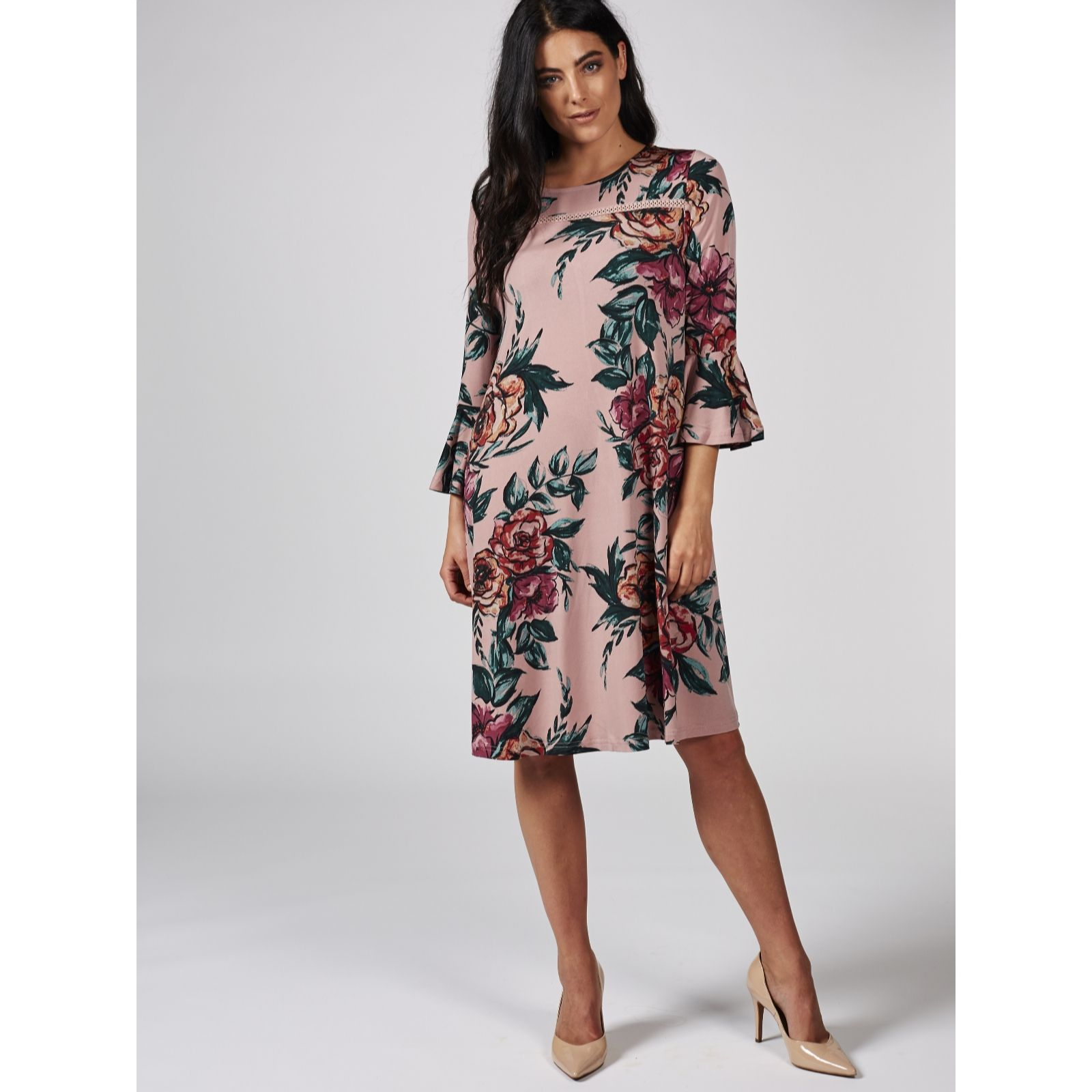 ee08f3750ee Printed Trapeze Dress with Bell Sleeve   Yoke Detail by Nina Leonard