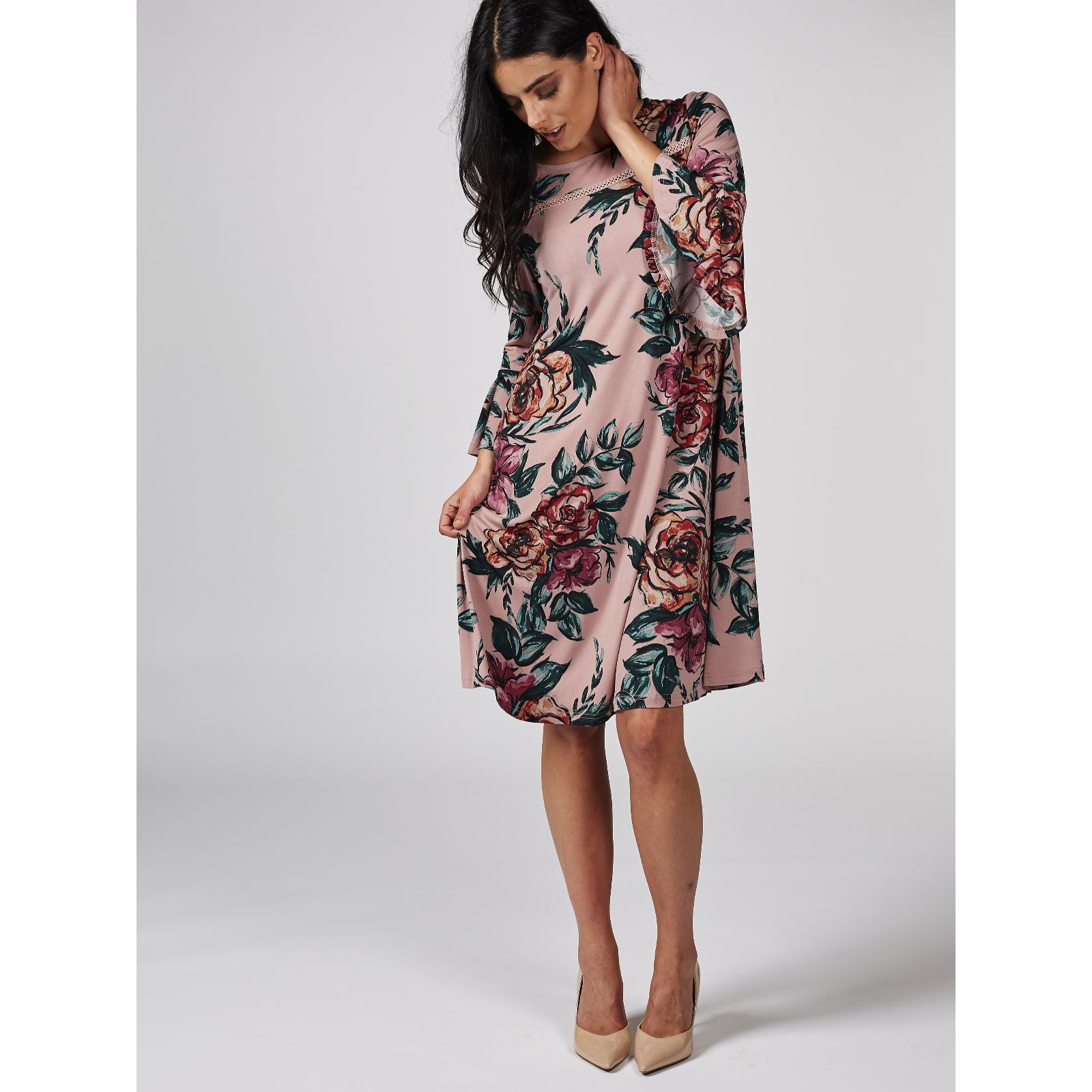 16dc4a28b6a Printed Trapeze Dress with Bell Sleeve   Yoke Detail by Nina Leonard - QVC  UK