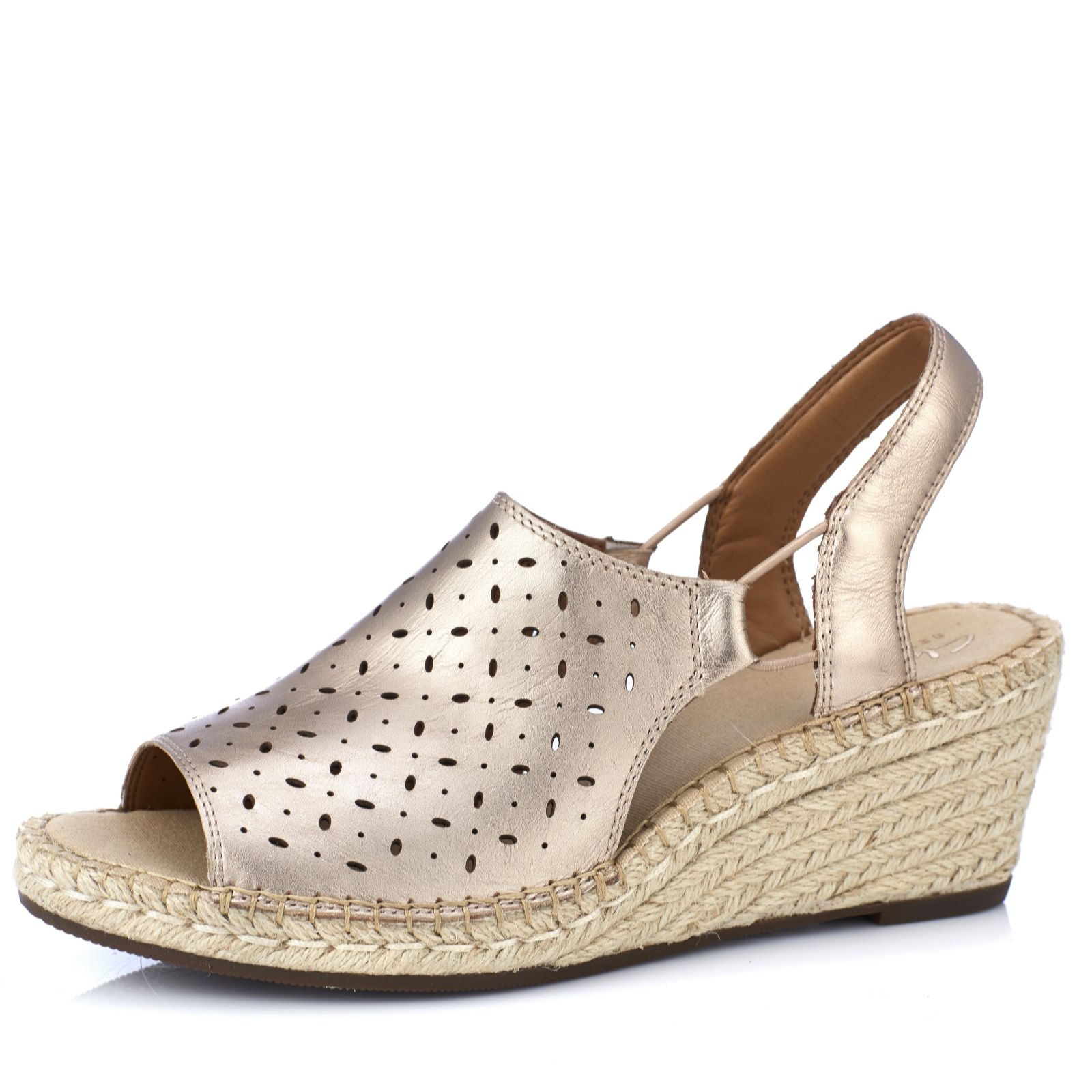 c11e0dd84b2b Clarks Artisan Petrina Gail Leather Espadrille Wedge Sandal Standard Fit -  QVC UK