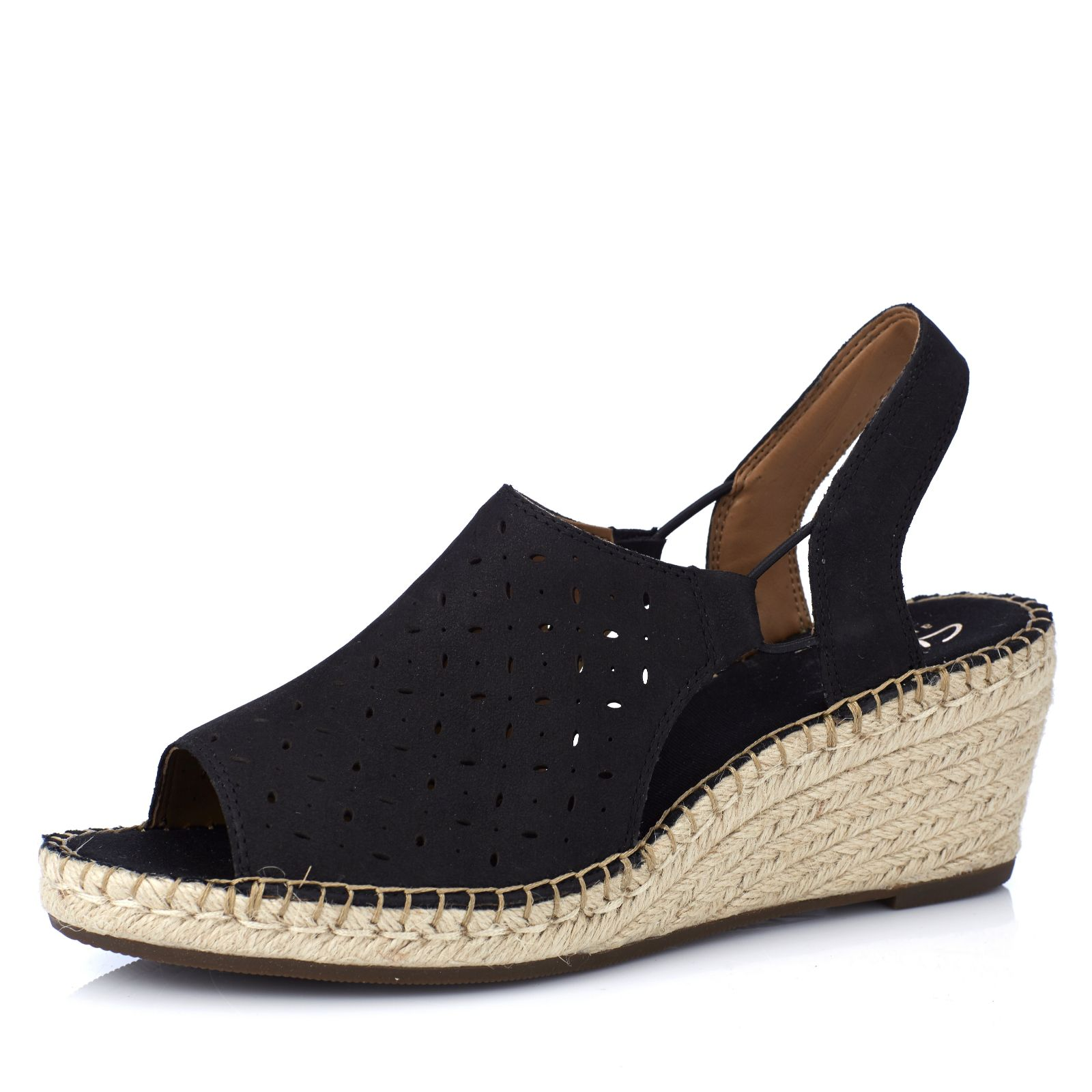1a398f6a59fa Clarks Artisan Petrina Gail Leather Espadrille Wedge Sandal Standard Fit - QVC  UK