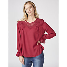 Woven Top with Lace Insert Detail by Susan Graver