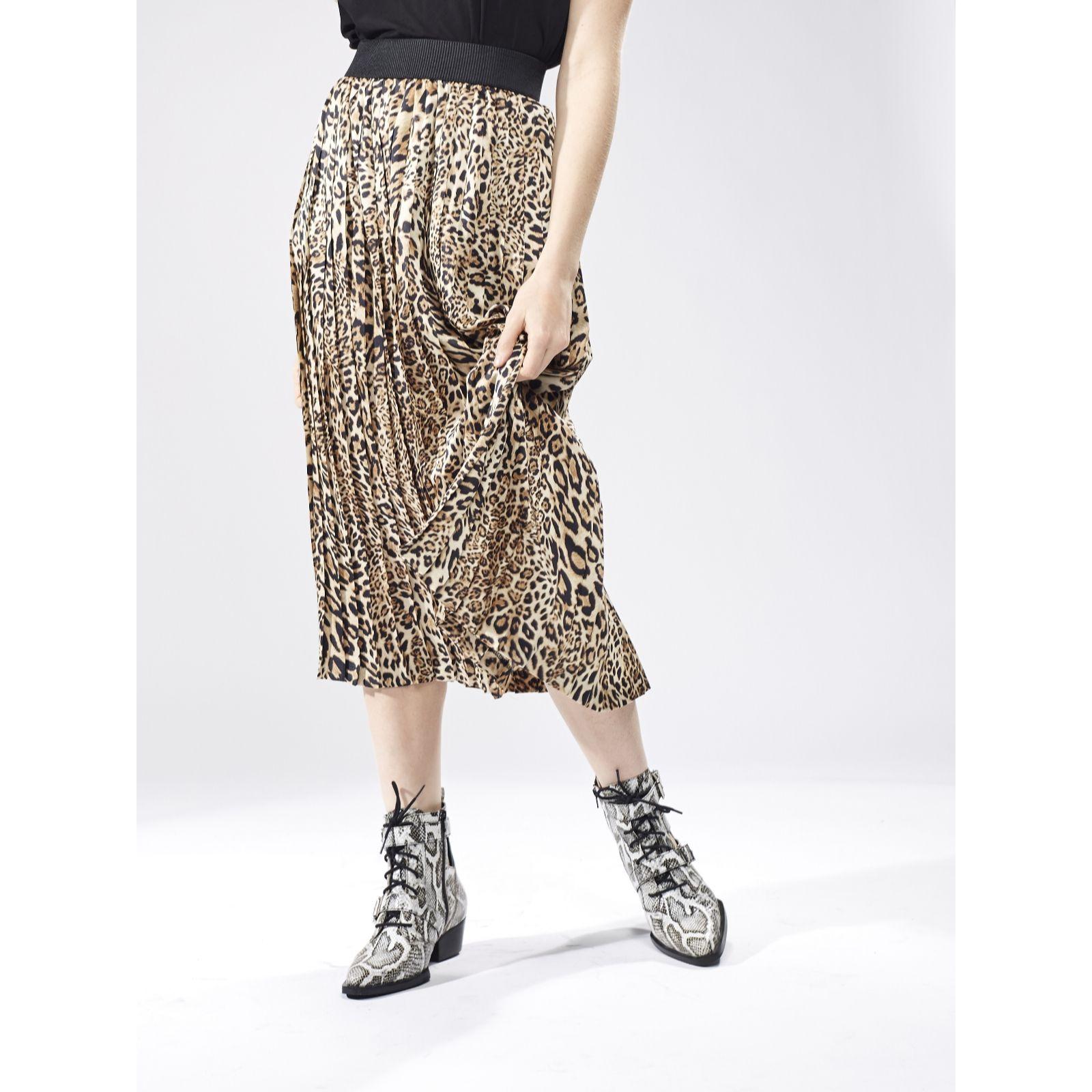 3587fe9810 Helene Berman Animal Printed Pleated Midi Skirt - QVC UK