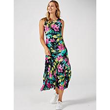 Attitudes by Renee Sleeveless Printed Jersey Godet Maxi Dress Regular