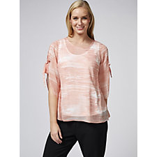 H by Halston Split Flutter Sleeve Chiffon Top