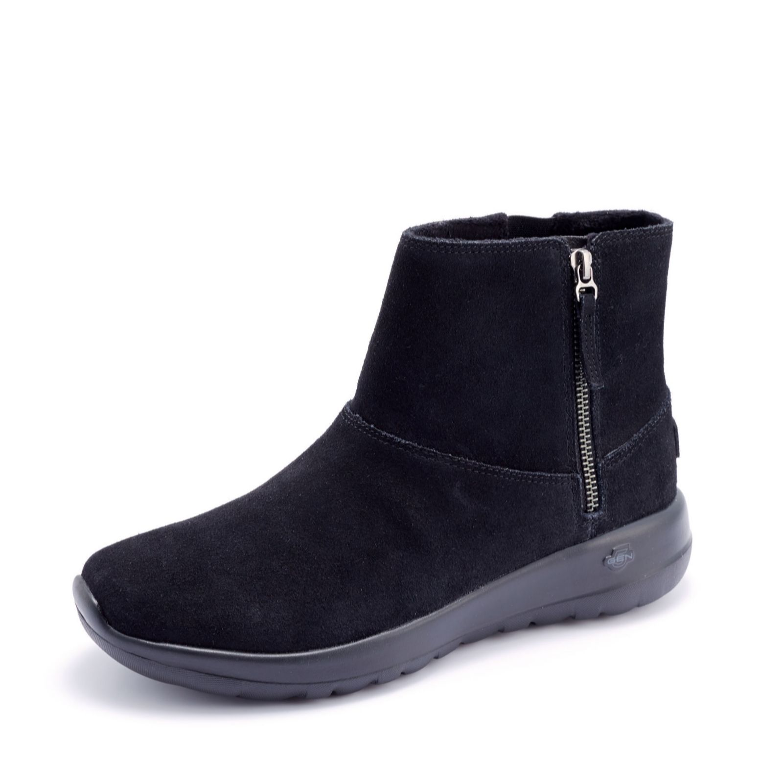 8c5bf35d0c1 Skechers Suede Zip Ankle Boot with Faux Fur - QVC UK