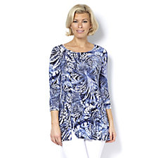 Attitudes by Renee Printed Tunic Top with 3/4 Sleeve