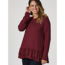 Logo by Lori Goldstein Solid Slub Knit Sweater with Tiered Ruffle Hem