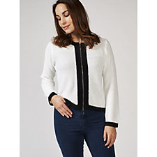 Marble Long Sleeve Cardigan with Contrast Colour Trim