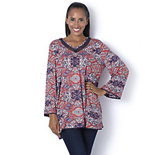 Together Lace Neckline Printed Top