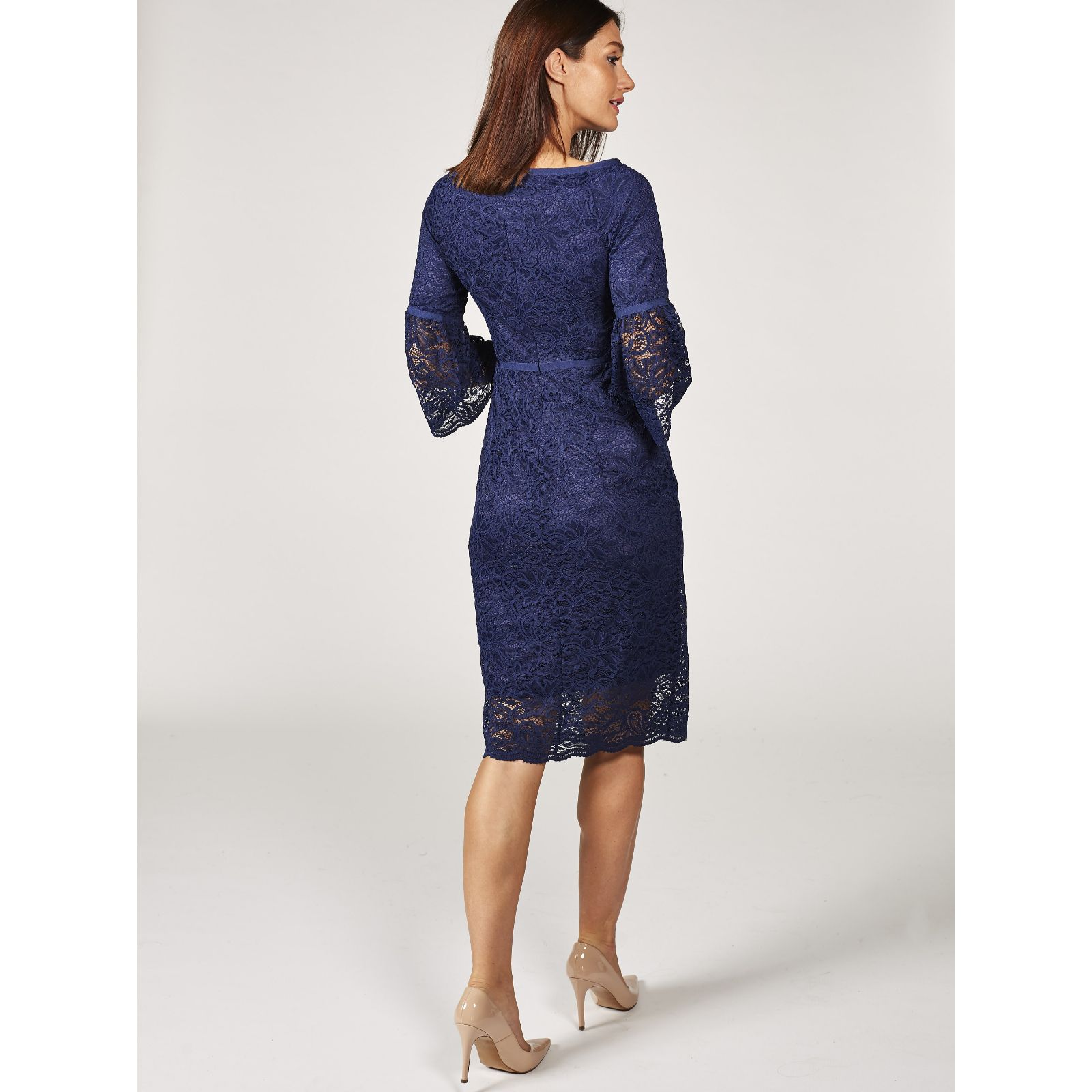 Ruth Langsford Fluted Sleeve Lace Dress Qvc Uk