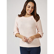 Marble Raglan 3/4 Sleeve Sweater with Cross Over Neck Detail