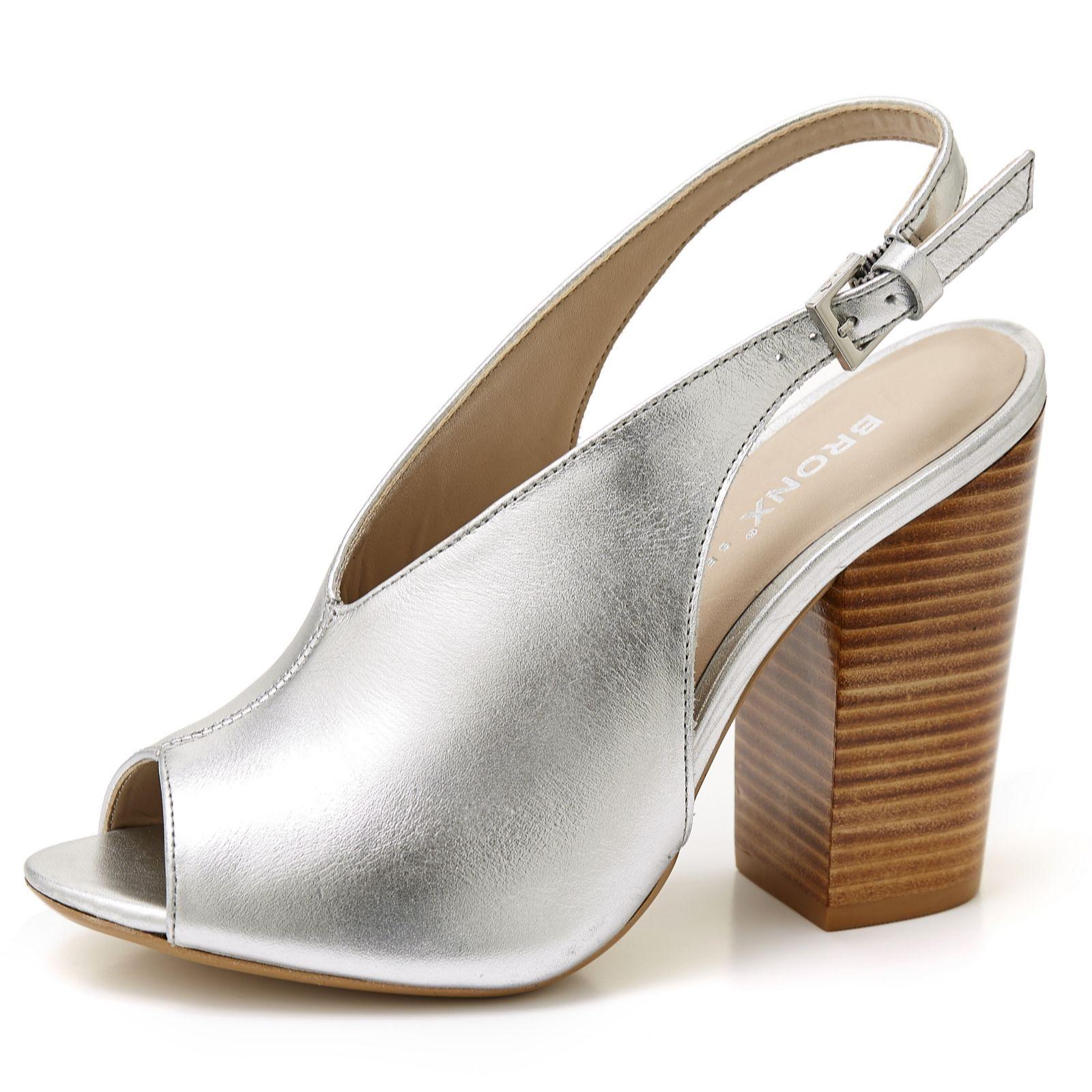 3aaafe4b3ea8 Bronx Leather Peep Toe Block Heel Shoe - QVC UK