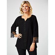 Dennis by Dennis Basso Caviar Crepe Tunic with Lace Trim