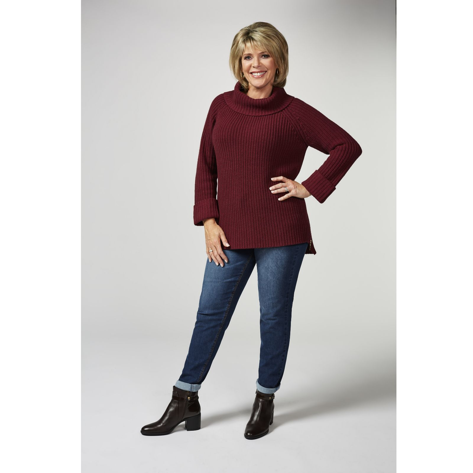8d4e3506a6 Ruth Langsford Chunky Knit Roll Neck Sweater with Side Zip Detail - QVC UK