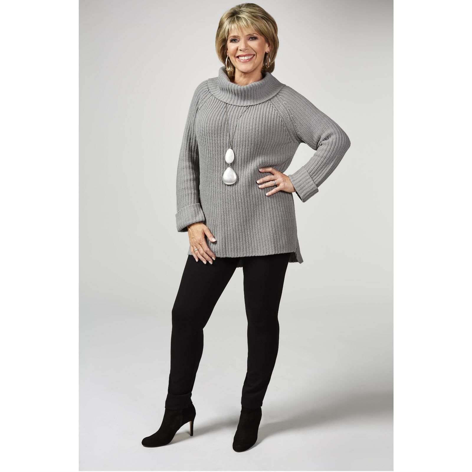 654e98d4e07076 Ruth Langsford Chunky Knit Roll Neck Sweater with Side Zip Detail - QVC UK