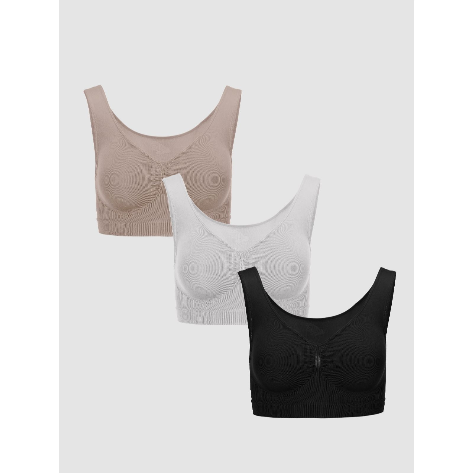 5346437b57bc3 Vercella Vita Medium Control Essentials Bra Pack of 3 - QVC UK
