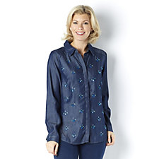 C. Wonder Embellished Buttondown Carrie Blouse with Tab Sleeves