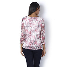 Together 3/4 Sleeve Floral Print Lace Top