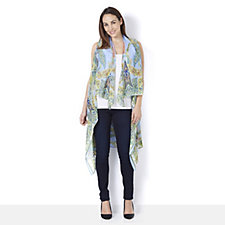 Nick Verreos Cascade Front Printed Georgette Duster