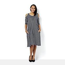 Scoop Neck 3/4 Sleeve Cold Shoulder Striped Dress by Nina Leonard