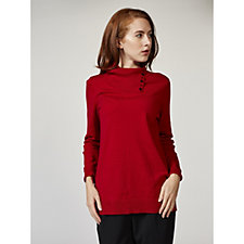 Dennis Basso Split Neck Sweater with Jewel Trim