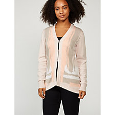 H by Halston Long Sleeve Engineered Jacquard Cardigan