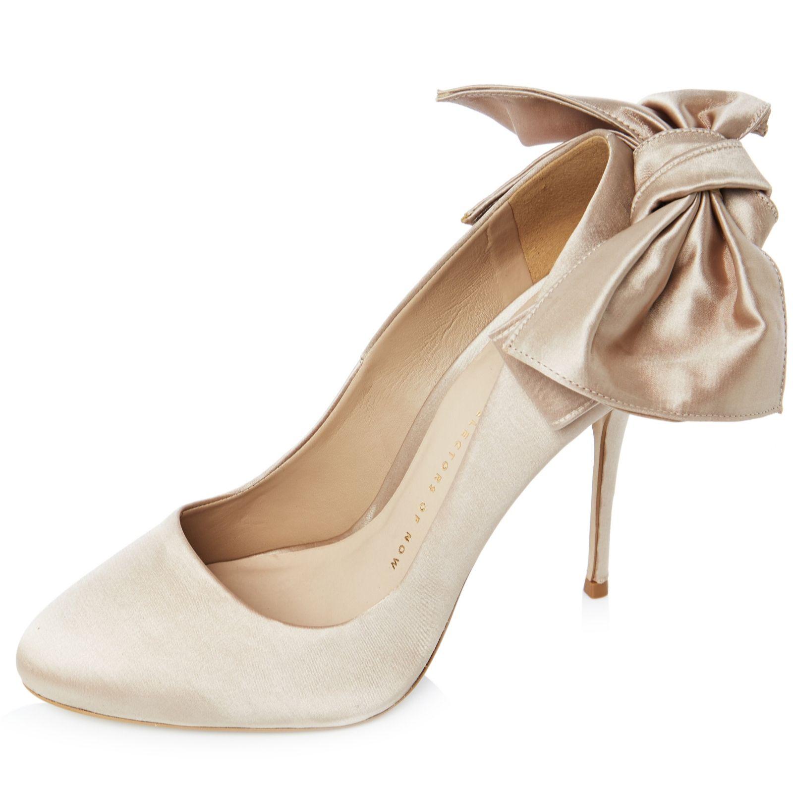 5c09c92615 Bronx Satin Bow Round Toe Court Shoe - QVC UK
