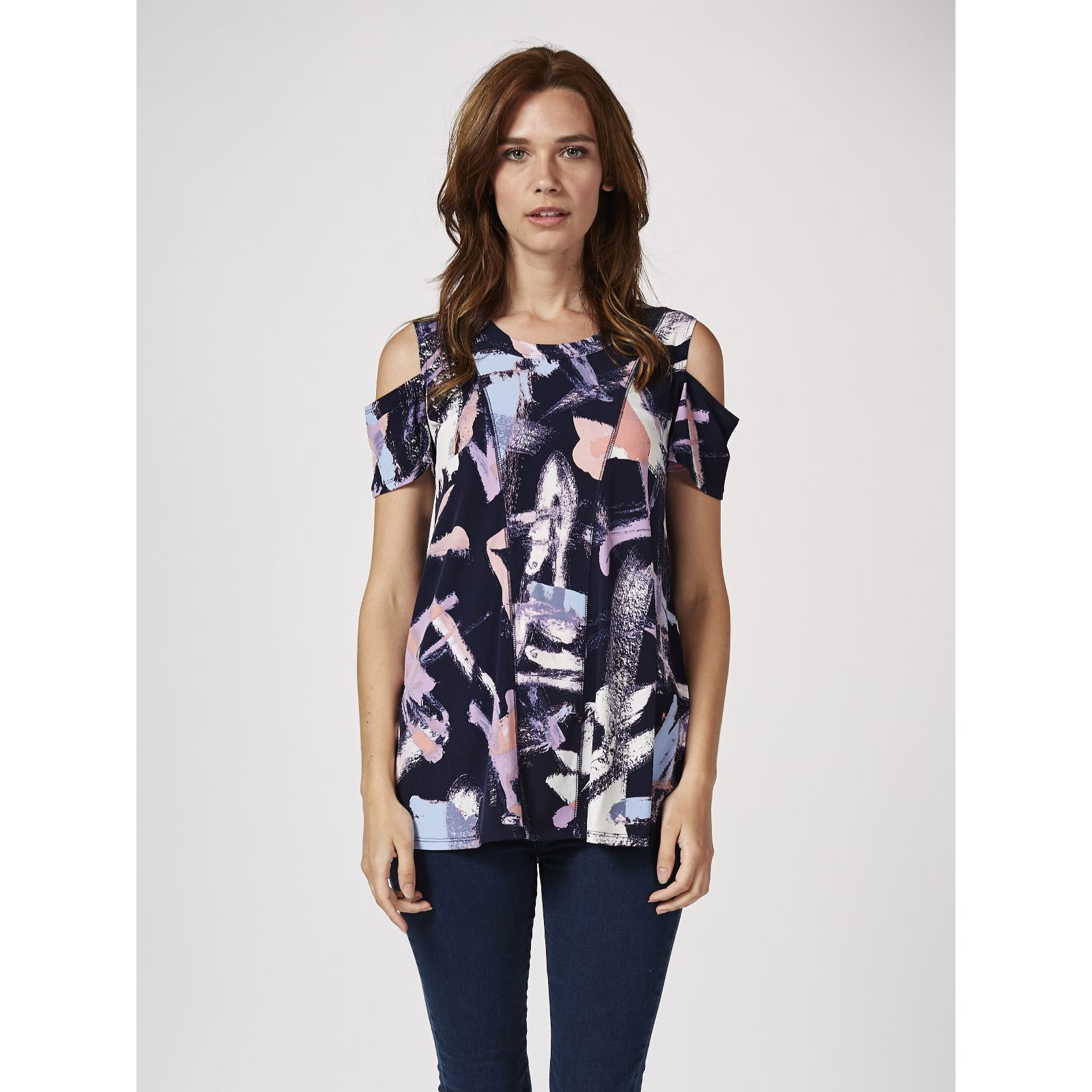 75280a3a332f76 Printed Cold Shoulder Tunic with Flutter Sleeves by Nina Leonard - QVC UK