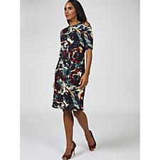 Mr Max Floral Printed Brazil Knit Cold Shoulder Dress
