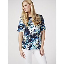 Kim & Co Printed Brazil Knit Short Frilled Sleeve Top