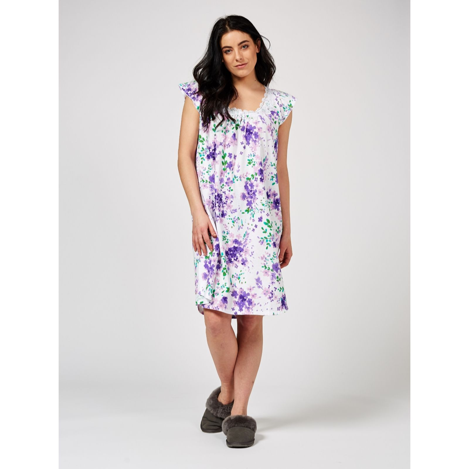 9bc5455d1a Carole Hochman Cotton Jersey Floral Print Lace Trim Short Nightdress - QVC  UK