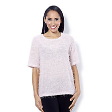 Kim & Co Eyelash Knit Short Sleeve Top