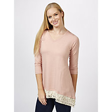 Logo by Lori Goldstein Brushed French Terry Lace Trim Top