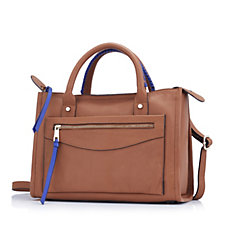 Amanda Lamb Leather Whipstitch Zip Top Tote Bag with Crossbody Strap
