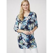 Kim & Co Printed Brazil Knit 3/4 Blouson Sleeve Long Tunic