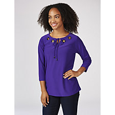Dennis by Dennis Basso Caviar Crepe 3/4 Sleeve Top with Eyelet Detail