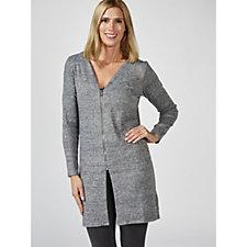 Denim & Co. Heathered Brushed Long Sleeve Zip Cardigan