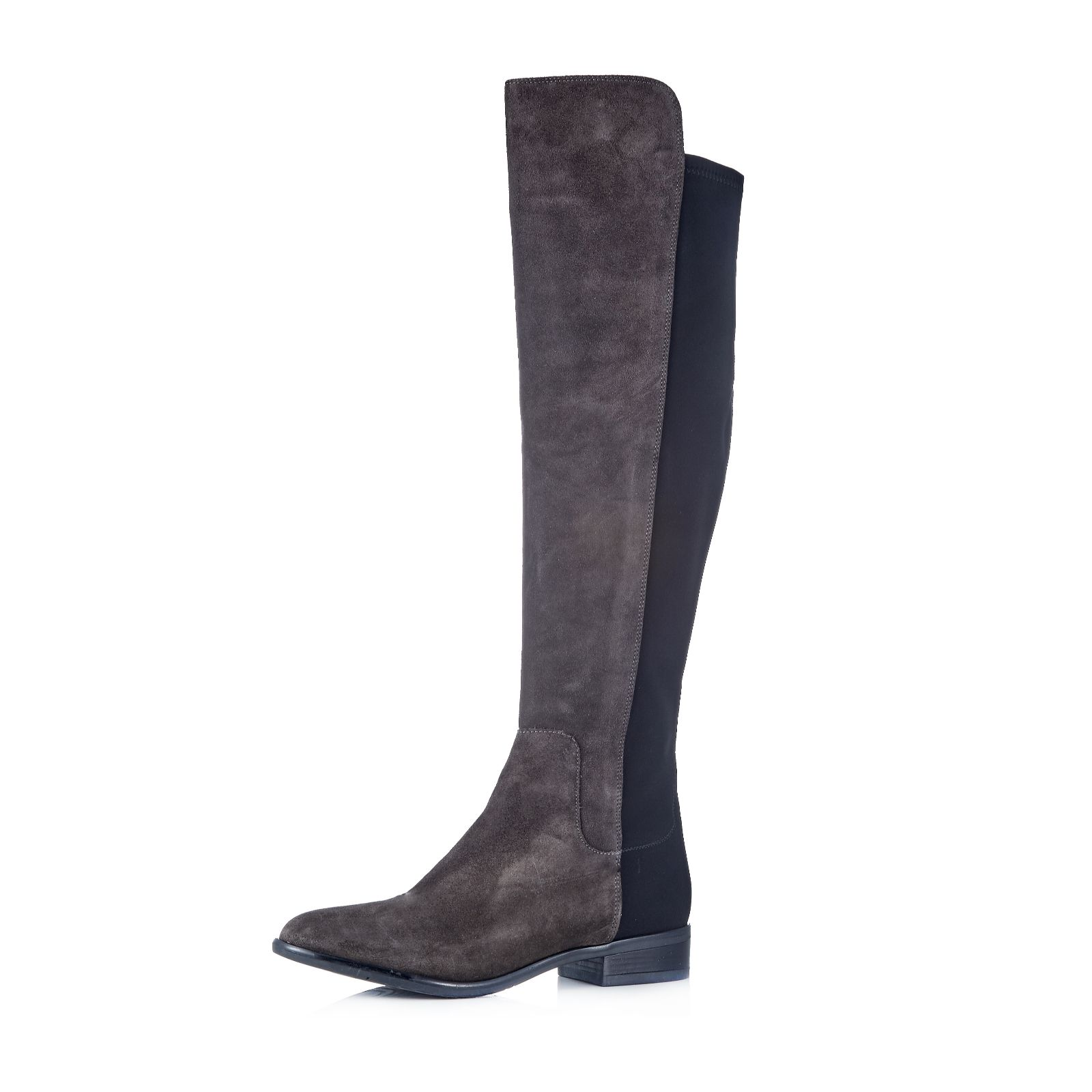 4d37658aecb Clarks Caddy Belle Leather Knee Boot with Elasticated Back Panel - QVC UK