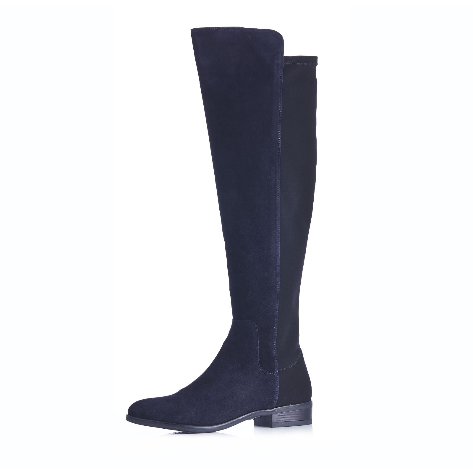 2393df23dcf Clarks Caddy Belle Leather Knee Boot with Elasticated Back Panel - QVC UK