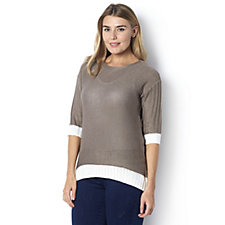 Marble 3/4 Sleeve Fitted Jumper with Contrast Hem Detail