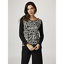 Together Printed Jersey Top with WovenTrim