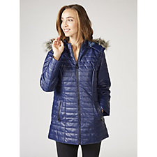 Dennis Basso Quilted Faux Leather Hooded Coat with Faux Fur Trim