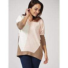 Marble V Neck Colour Block Sweater with 3/4 Sleeves