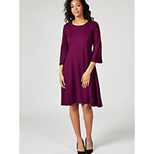 H by Halston Ponte Fit & Flare Dress with Pleated Sleeve Detail
