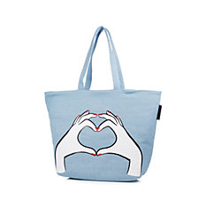 Lulu Guinness Luisa Denim Heart Hands Tote Bag
