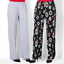 Antthony Designs Pack of 2 Print & Plain Pull-on Trousers Petite