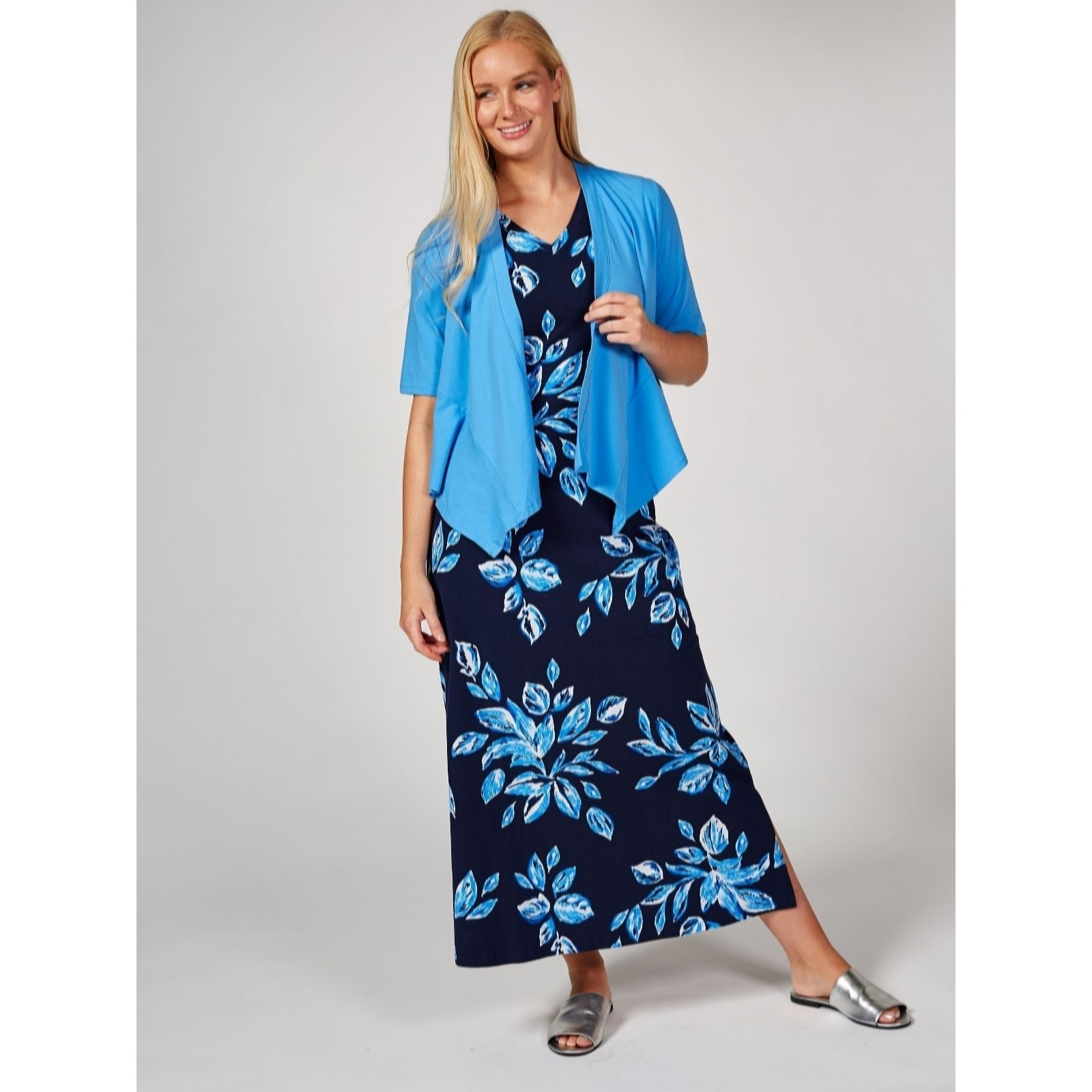 229d8c27fd3 Denim   Co. Cotton Jersey Maxi Dress   Waterfall Cardigan Petite ...