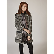 Dennis Basso Plaid Wool Blend Coat with Scarf